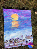 Sunset Into Darkness Original Abstract Seascape Painting On Canvas 11 X 14 - Original Art