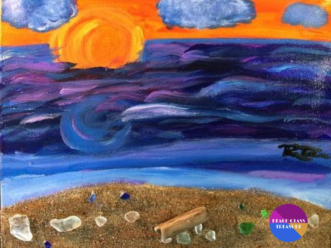 Sunset Into Storm Original Beach Painting On Canvas 11X14 - Original Art