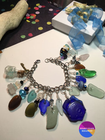 Winter Wonderland Beach Glass Charm Bracelet - Jewelry