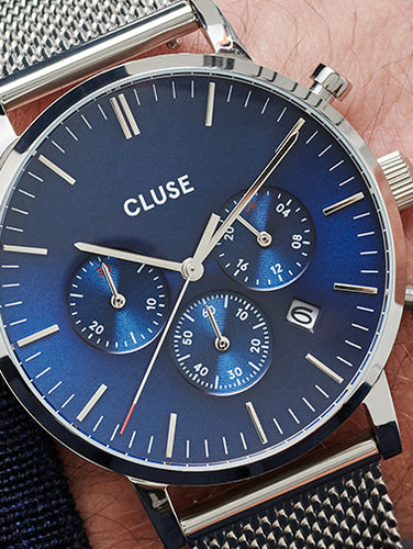 16 mm Strap Blue Python/Silver CLS384 - Official CLUSE Store