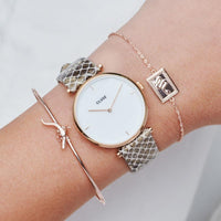 CLUSE Force Tropicale Rose Gold Twisted Chain Tag Bracelet CLJ10022 - Chain bracelet on wrist