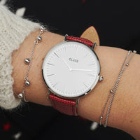 CLUSE 18 mm Strap Deep Red Lizard/Silver CLS081 - watch