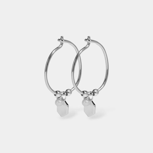 Image: CLUSE Essentielle Silver Hexagon and Pearl Charm Hoop Earrings CLJ52002 - earrings