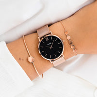 CLUSE Essentielle Rose Gold Hexagon Bangle Bracelet CLJ10001 - bangle on wrist