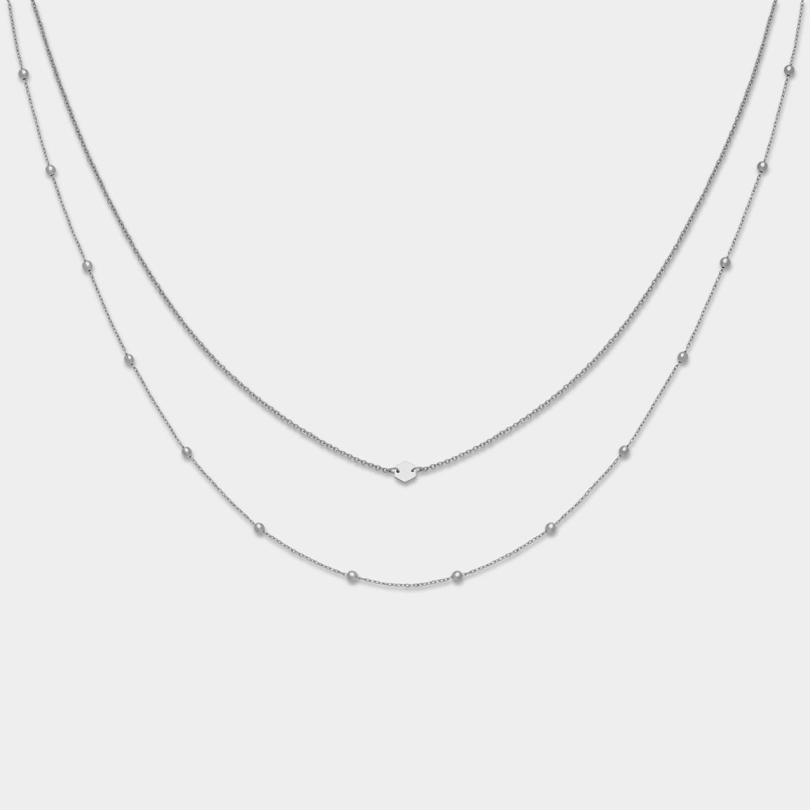 CLUSE Essentielle Silver Set of Two Necklaces With Petite Hexagon CLJ22004 - necklace set