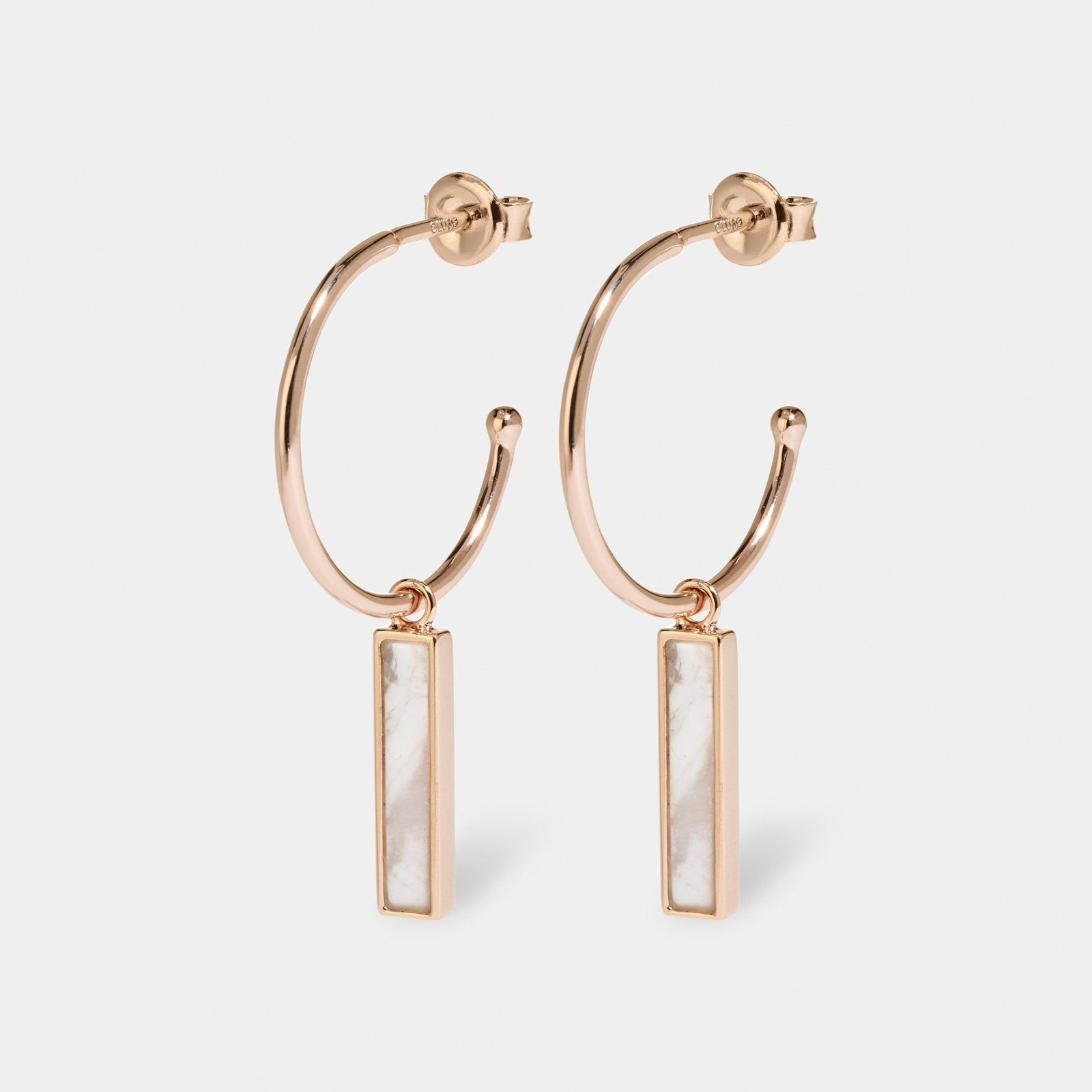 CLUSE Idylle Rose Gold Marble Bar Hoop Earrings CLJ50001 - earrings