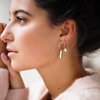 CLUSE Idylle Rose Gold Marble Bar Hoop Earrings CLJ50001 - earrings in ear
