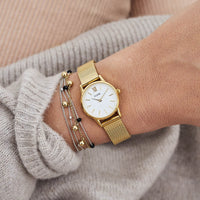 CLUSE La Vedette Mesh Gold/White CL50007 - watch on wrist
