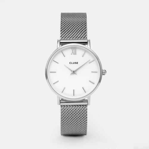 Image: CLUSE Minuit Mesh Silver/White CL30009 - watch
