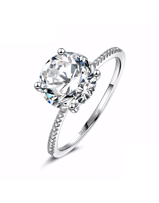 3 Ct Silver Engagement Ring - Ornativa.com