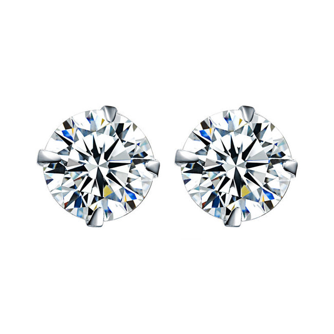 Real 925 Sterling Silver Stud Earrings for Women Studded with 6mm Round Cubic Zirconia | Hallmarked Jewellery | Hypoallergenic jewellery for Sensitive Ear