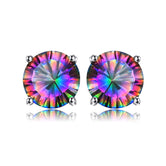 Real 925 Sterling Silver Stud Earrings for Women Studded with 6mm Multicolour Cubic Zirconia | Hallmarked Jewellery | Hypoallergenic jewellery for Sensitive Ear