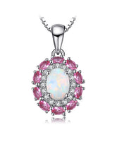 Opal and Pink Sapphire Silver Pendant