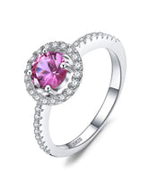 Pink Sapphire Silver Engagement Ring