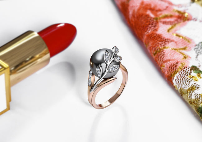 Rose gold ring with Gray Pearl for women Leaf Trendy jewellery dropshipping anel anillos aneis bagues femme statement jewelry - Ornativa.com