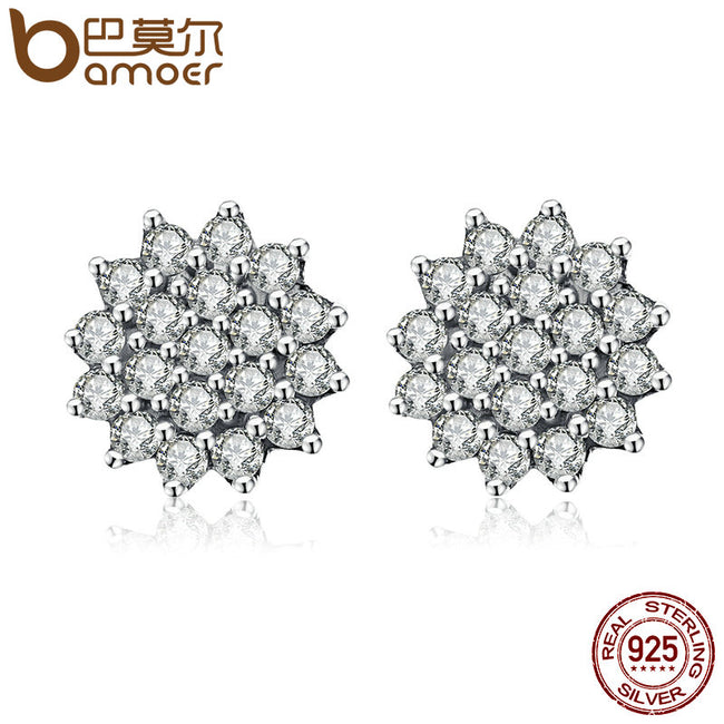 BAMOER New Arrival 100% 925 Sterling Silver Dazzling CZ Snowflake Stud Earrings for Women Brincos Fine Jewelry Bijoux SCE091