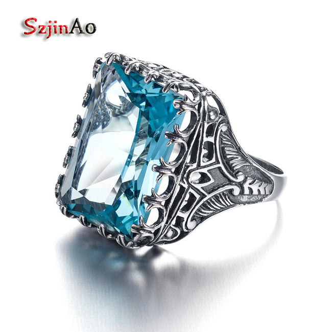 Square Blue Aquamarine Skull 925 Silver Elephant Ring Antique National Decoration Luxury Brand Rings for Women Size 5-11