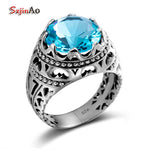 Kpop Punk New Brand 925 Sterling Silver Rings For Women Men Wedding Aquamarine Skull White Gold Jewelry Dropshipping