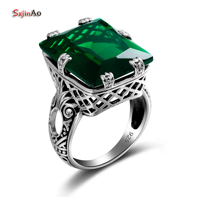 Green Emerald Vintage Rings for Women 925 Sterling Silver Cute Punk Party Fine Jewelry bague Wholesale