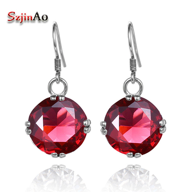 Szjinao New Luxury Ruby Earrings 925 Sterling Silver Earrings Fashion Handmade Vintage Design For Women Wholesale - Ornativa.com