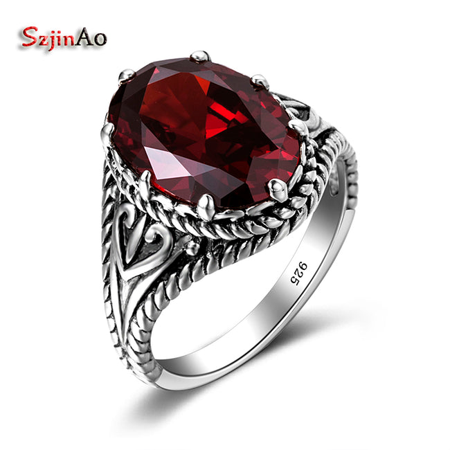Turkey Jewelry Product Red Stone Vintage Big Rings For Women 925 Sterling Silver Jewelry Mosaic Crystal Wholesale