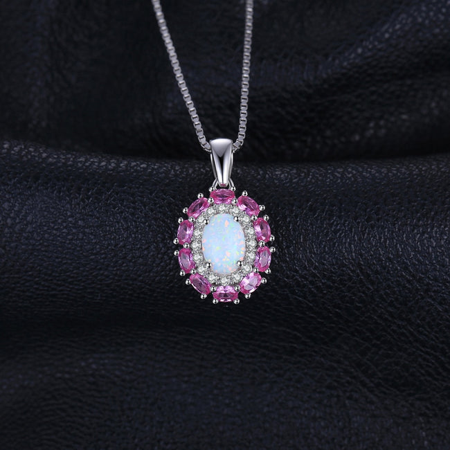 Opal and Pink Sapphire Silver Pendant - Ornativa.com