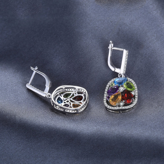 Gemstones Silver Dangle Earrings - Ornativa.com