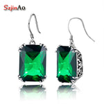 Szjinao Personality Soild 925 Sterling Silver Earrings Emerald Bohemia Style Jewelry for Women Wedding Gift Wholesale Price