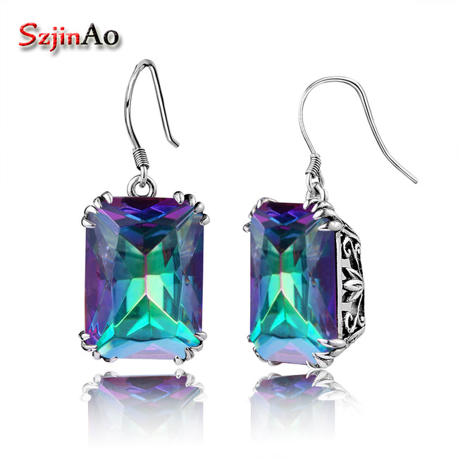 Szjinao 100% HandMade Bohemian Wedding Style Earrings Mystic Rainbow Topaz Vintage Earring For Women 925 Sterling Silver Jewelry