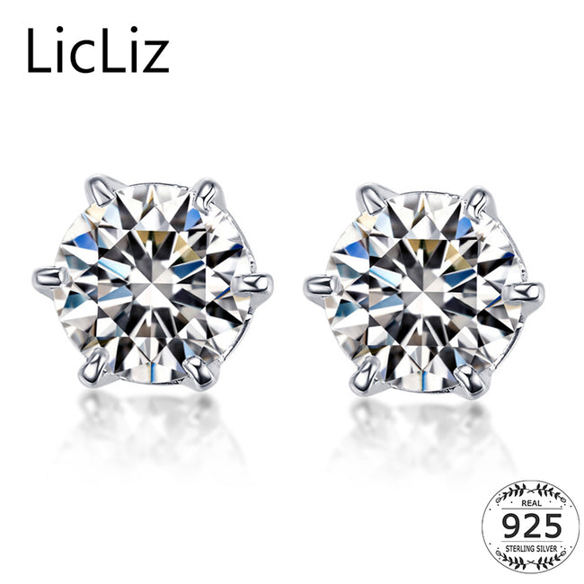 LicLiz 925 Sterling Silver Stud Earrings For Women CZ Solitaire Earrings Zircon Ear Piercing Studs Crown Earrings Brincos LE0314