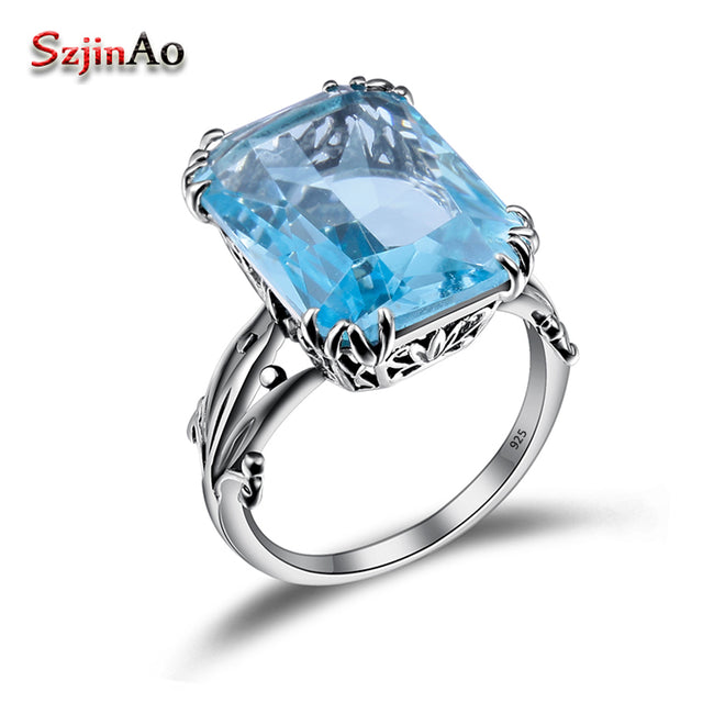 Szjinao Rings for Women Hot Genuine Sterling Silver Jewelry Boho Vintage 10ct Aquamarine Ring Accessories Wholesale China