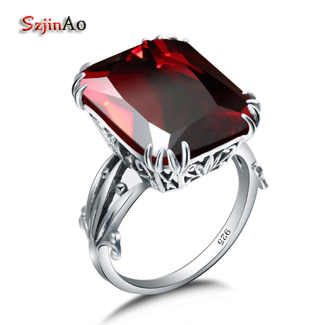 Red Tourmaline Garnet 925 Sterling Silver Rings For Women Flower Rock Hiphop Pretty Engagement Jewelry Factory Wholesale - Ornativa.com