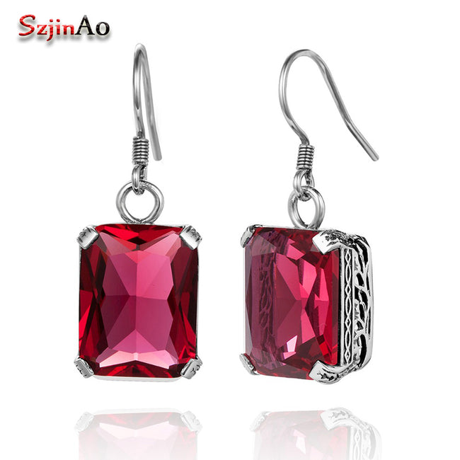 Szjinao Authentic 100% 925 Sterling Silver Earrings Fashion Women Fashion Vintage Ruby Earrings Costume Jewelry Boho