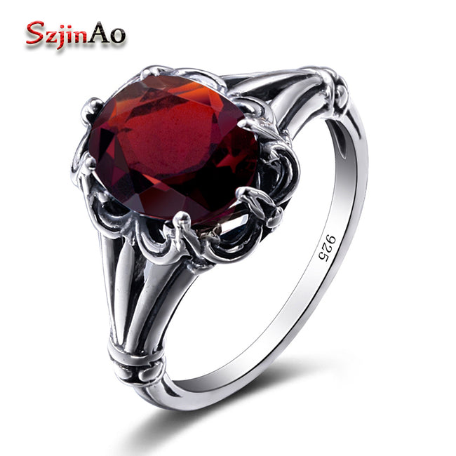 Turkish Jewelry 100% 925 Sterling Silver Rings Oval Design Garnet Bohemian Handmade Victoria Wieck Rings For Women