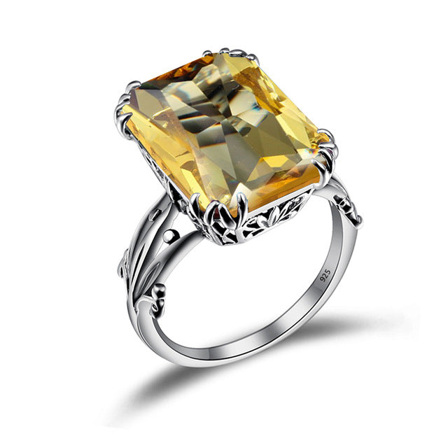 Vintage Citrine Crown Rings for Women Fashion Pure 925 Sterling Silver Wedding Party Jewelry Wholesale