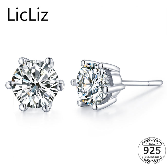 LicLiz 925 Silver Zircon Stud Earrings For Women White Rainbow Earrings Piercing Ear Studs CZ Stone Post Earrings Round LE0287A