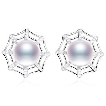 DAIMIr Spiderweb Earrings S925 Sterling Silver Earrings 9.5-10mm Natural White Freshwater Pearl Studs Earrings Cobweb Jewelry