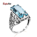 925 Sterling Silver Byzantine Austrian Aquamarine Rings For Women Fashion Jewelry Vintage Wedding Engagement Ring bijoux