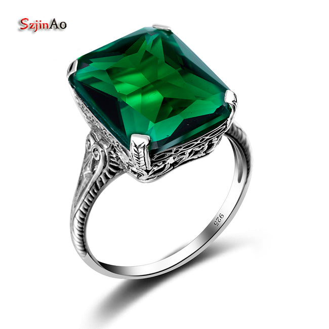 New Geometry Real 925 Sterling Silver Ring Green Emerald Mosaic Vintage wedding luxury Brand Fine Jewelry Gifts - Ornativa.com