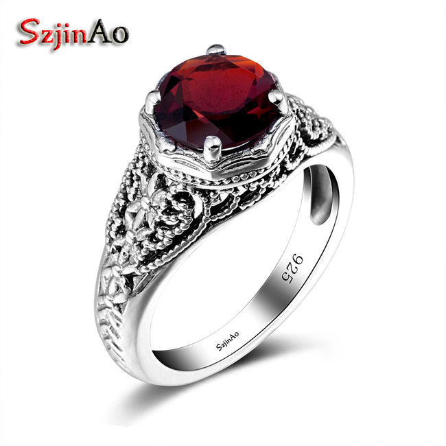 Famous Brand 925 Sterling Silver Rings Vintage Garnet Rings Women Round Gemstone Silver anillo Wedding Fine Jewelry