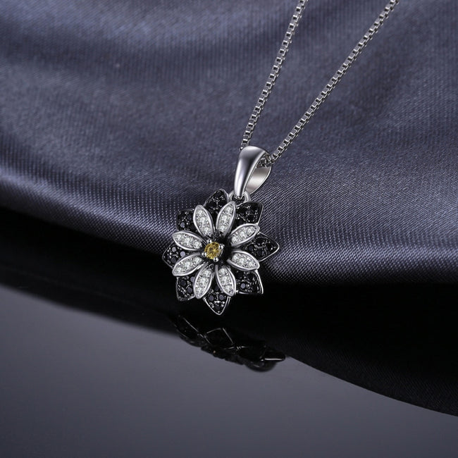 Black Spinel Flower Pendant