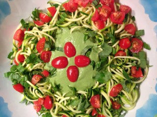 RAW ZUCCHINI PASTA WITH PINE NUT PESTO