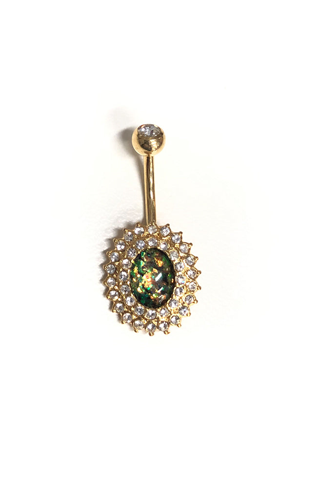 Opal Essence Gold Radiant Navel : 1.6mm (14ga) x 10mm x Light Green
