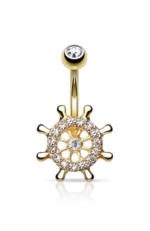14k Gold Plated Jewelled Ship Wheel Navel : 1.6mm (14ga) x 10mm