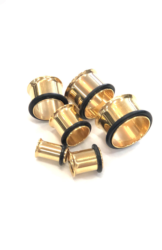 Bright Gold Single Flared Tube - Sizes 6mm to 16mm