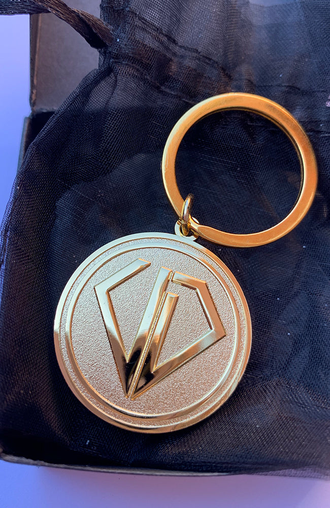 Uncut Diamond Keyring - Gold