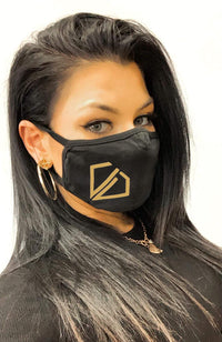Uncut Diamond Face Mask - Gold Logo