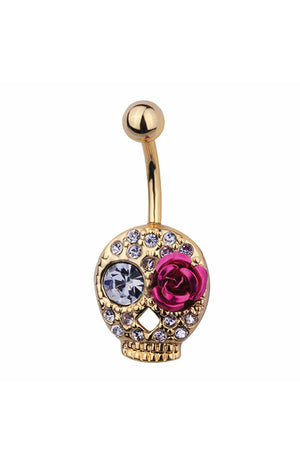 Gold Plated Steel Skull Fashion Navel : 1.6mm (14ga) x 10mm