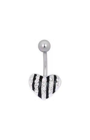 Steel Basicline® Jewelled Zebra Heart Navel Bananabell : 1.6mm (14ga) x 8mm