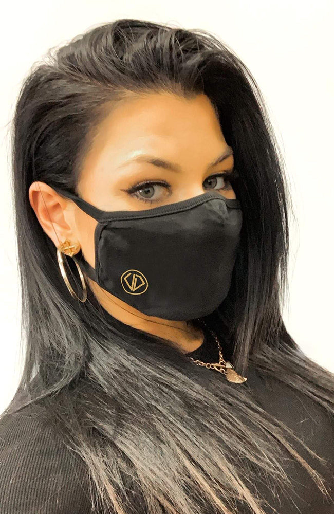 Uncut Diamond Face Mask - Mini Gold Logo